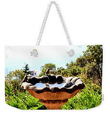 Weekender Tote Bag featuring the photograph Tiny Birds Bathing by Sadie Reneau