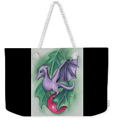 Weekender Tote Bag featuring the pastel Tiny Dragon On A Holly Berry by MM Anderson