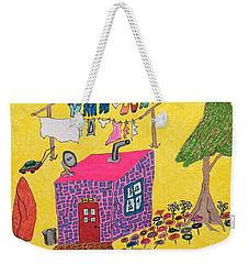 Tiny House With Clothesline Weekender Tote Bag