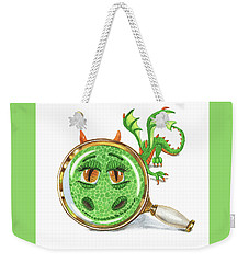 Weekender Tote Bag featuring the painting Tiny Teeny Little Dragon by Irina Sztukowski