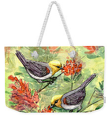 Weekender Tote Bag featuring the painting Tiny Verdin In Honeysuckle by Marilyn Smith