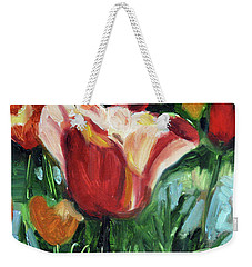 Weekender Tote Bag featuring the painting Tip Toe Thru The Tulips by Billie Colson