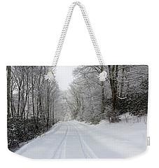 Tire Tracks In Fresh Snow Weekender Tote Bag
