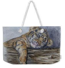 Tired Tiger Cub Weekender Tote Bag