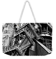 Titan Of Industry - Bethlehem Steel Mill In Black And White Weekender Tote Bag by Bill Cannon