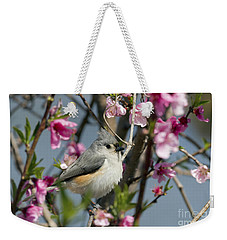 Titmouse And Peach Blossoms Weekender Tote Bag