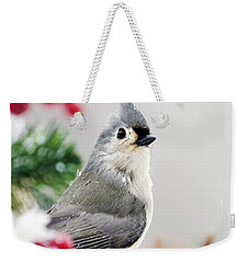 Weekender Tote Bag featuring the photograph Titmouse Bird Portrait by Christina Rollo