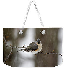Titmouse During Snow Storm Weekender Tote Bag