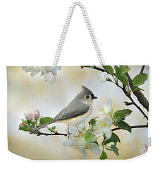 Weekender Tote Bag featuring the mixed media Titmouse In Blossoms 1 by Lori Deiter