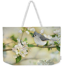 Weekender Tote Bag featuring the mixed media Titmouse In Blossoms 2 by Lori Deiter