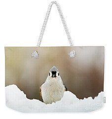 Tufted Titmouse In Snow Weekender Tote Bag