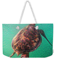 Weekender Tote Bag featuring the digital art Tito The Turtle by Erika Swartzkopf