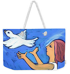 Weekender Tote Bag featuring the painting To Fly Free by Winsome Gunning