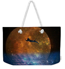 To The Moon And Back Cat Weekender Tote Bag by Kathy Barney