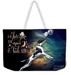 Weekender Tote Bag featuring the digital art To The Moon by Kathy Tarochione