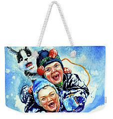 Weekender Tote Bag featuring the painting Toboggan Terrors by Hanne Lore Koehler