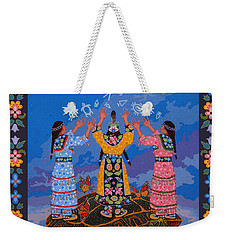 Weekender Tote Bag featuring the painting Together We Over Come Obstacles by Chholing Taha