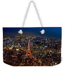 Weekender Tote Bag featuring the photograph Tokyo At Night by Dan Wells