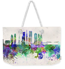 Tokyo V3 Skyline In Watercolor Background Weekender Tote Bag