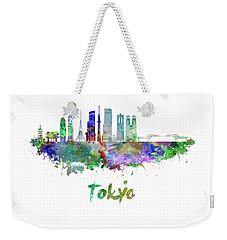 Tokyo V3 Skyline In Watercolor Weekender Tote Bag by Pablo Romero