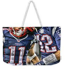 Tom Brady Art 1 Weekender Tote Bag by Joe Hamilton