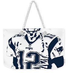 Tom Brady New England Patriots Pixel Art 6 Weekender Tote Bag by Joe Hamilton