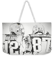 Weekender Tote Bag featuring the drawing Tom Brady Rob Gronkowski Sketch by Dan Sproul