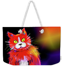 Tomato Dizzycat Weekender Tote Bag by DC Langer