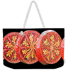 Weekender Tote Bag featuring the photograph Tomato On Black Background by Kristin Elmquist