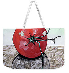 Tomato On Marble Weekender Tote Bag by Mary Ellen Frazee