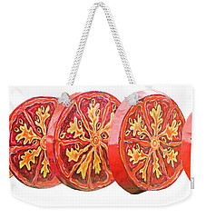Weekender Tote Bag featuring the photograph Tomato On White Background by Kristin Elmquist