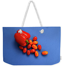 Tomatoes And Capsicum On Blue Weekender Tote Bag