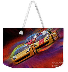 Tony Ferraro Leads Mike Louli And Keith Larson Ferrari Challenge 458 Weekender Tote Bag