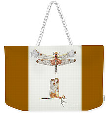 Top And Side Views Of A Male Calico Pennant Dragonfly Weekender Tote Bag