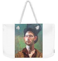 Weekender Tote Bag featuring the painting Topper by JaeMe Bereal