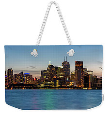 Weekender Tote Bag featuring the photograph Toronto Skyline At Dusk Panoramic by Adam Romanowicz
