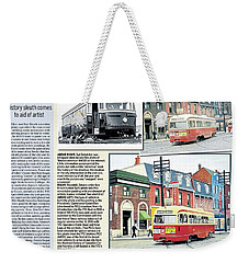Weekender Tote Bag featuring the painting Toronto Sun Article Streetcars Brush With Fame by Kenneth M Kirsch