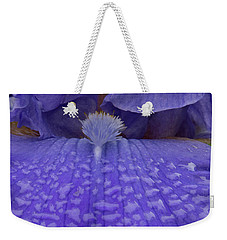 Weekender Tote Bag featuring the photograph Totally Blue Iris by Jean Noren
