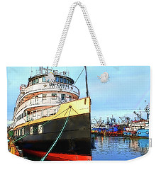 Tour Boat At Dock Weekender Tote Bag by Tobeimean Peter
