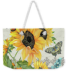 Weekender Tote Bag featuring the painting Tournesol Jardin-jp3986 by Jean Plout