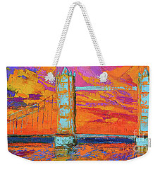 Weekender Tote Bag featuring the painting Tower Bridge Colorful Painting, Under Vibrant Sunset by Patricia Awapara