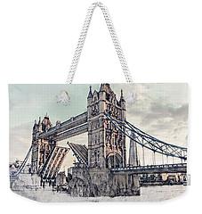 Weekender Tote Bag featuring the digital art Tower Bridge by Pennie  McCracken