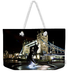 Tower Bridge With Girl And Dolphin Statue Weekender Tote Bag