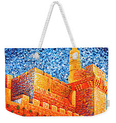 Tower Of David At Night Jerusalem Original Palette Knife Painting Weekender Tote Bag by Georgeta Blanaru