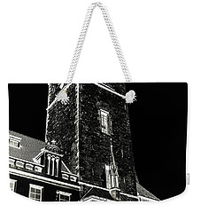 Weekender Tote Bag featuring the photograph Tower Of Old Town Hall In Prague. Black by Jenny Rainbow