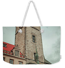 Weekender Tote Bag featuring the photograph Tower Of Old Town Hall In Prague by Jenny Rainbow
