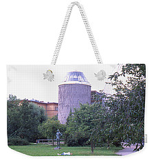 Tower Of The Future, Statue And Lying Woman Weekender Tote Bag
