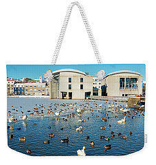 Weekender Tote Bag featuring the photograph Town Hall And Swans In Reykjavik Iceland by Matthias Hauser