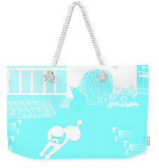 Toy Poodle Louie And Black Cat Jessica In The Yard Weekender Tote Bag