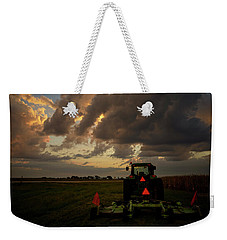 Weekender Tote Bag featuring the photograph Tractor At Sunrise - Chester Nebraska by Art Whitton